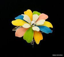 Retro 1970's Flower Power bunt Emaillierte Blüten Brosche, Broche, Brooch,Spilla