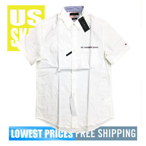 Tommy-Hilfiger-Men-039-s-NWT-White-SLIM-FIt-Button-Up-SH-Sleeve-Shirt-Label-LARGE