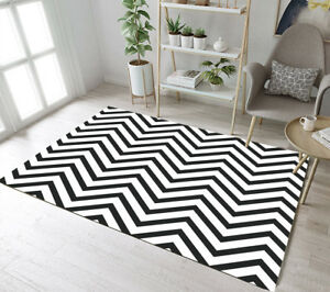 Details About Black White Chevron Wave Floor Rug Mat Bedroom Carpet Living Room Area Rugs