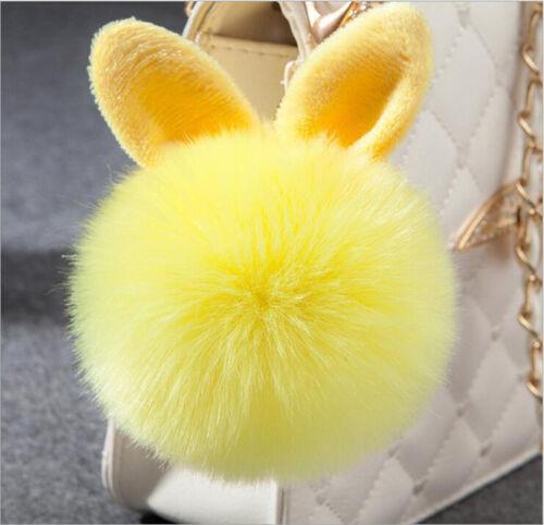 Girls Cute Fluffy Bunny Pompom Keychain Bag Rabbit Ear Fur Ball Pendant Keychain