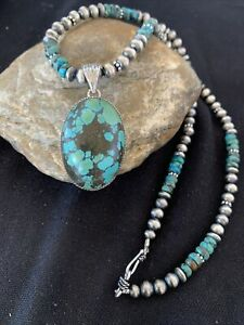Mens-Navajo-Pearls-Sterling-Silver-Blue-SpiderWeb-Turquoise-Necklace-Pendant-921