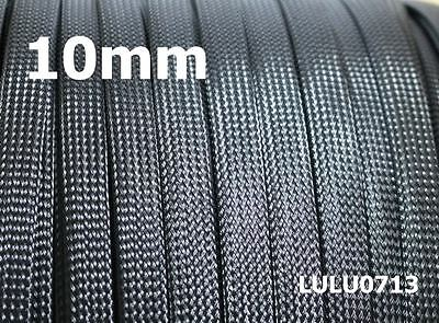 10mm Expandable Braided DENSE PET Sleeving Cable BLACK Audio PC Diy