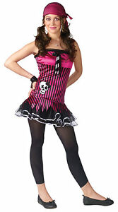 Image is loading Pink-Skull-Pirate-Costume-Crossbones-Fancy-Dress-Teen-  sc 1 st  eBay & Pink Skull Pirate Costume Crossbones Fancy Dress Teen Junior Petite ...