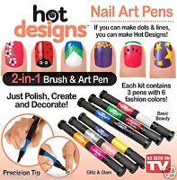 Hot Designs Nail Polish Varnish Art Pen and Brush Drawing Tool Gel