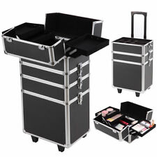 In Pro Aluminum Rolling Makeup Case Salon Cosmetic Organizer - Aluminum trolley case pro rolling makeup cosmetic organizer
