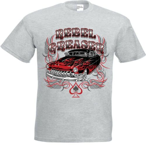 T Shirt grau Hot Rod-,US Car/& `50 Stylemotiv Modell Rebel Greaser