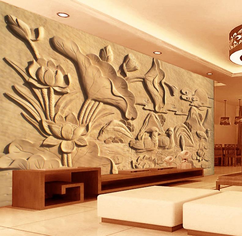 3D Lotusblattschnitzen 6 Tapete Tapeten Mauer Foto Familie Tapete Wandgemälde DE