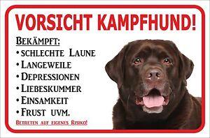 15x20 Bis 40x60cm Kampfhund Kataloge Werden Auf Anfrage Verschickt Gewissenhaft Schild Vorsicht Brauner Labrador Retriever