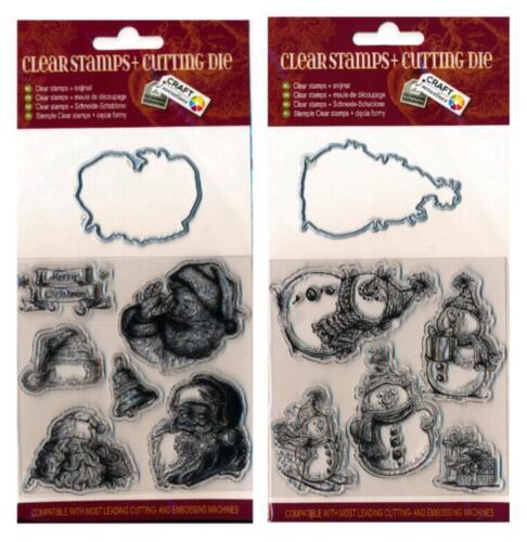 1 Stanzschablone 5-6 Stempel Christmas WEIHNACHTEN im Set SCHNEEMANN 360