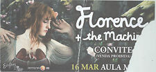 FLORENCE AND THE MACHINE USED CONCERT PRESS INVITATION TICKET 16.03.2010