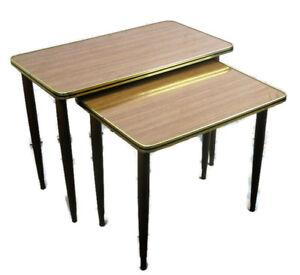 Two-2-Vintage-Wood-Teak-Veneer-Nesting-Side-Tables-Mid-Century-Modern-HTF