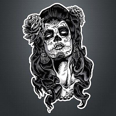 DAY OF THE DEAD GIRL STICKER #5 lady skull, sugar skull 200mm x 130mm