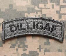 DILLIGAF ARMY TAB ROCKER MILITARY BADGE ACU DARK VELCRO® BRAND FASTENER PATCH