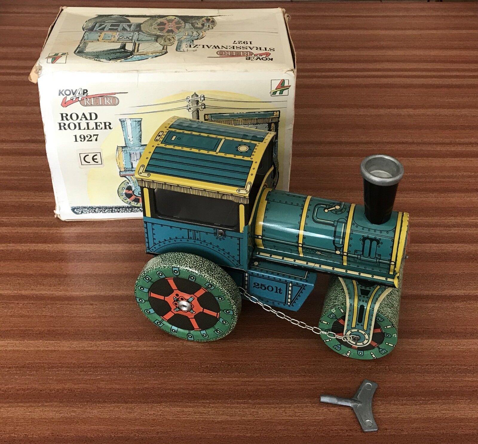 Kovap Rétro  1927  Road Roller Tin Wind-Up Wind-Up Wind-Up avec Boite & Clé République Tchèque 9c8955