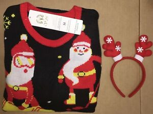 Image is loading Christmas-Sweater-V28-Women-Ugly-Vintage-White-Red- 53995d414c52