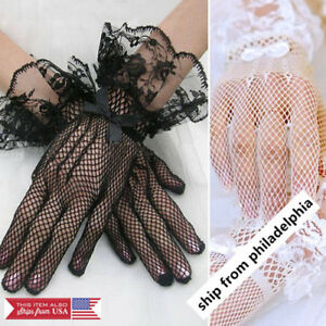 Women-039-s-Wrist-Wedding-Driving-Bow-Lace-Gloves-Bridal-Party-Prom-Fishnet-Gloves