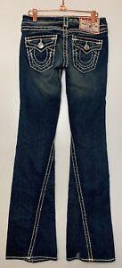 TRUE-RELIGION-Women-s-Joey-Super-T-Twisted-Flare-Jeans-25-Thick-Stitching-Dark