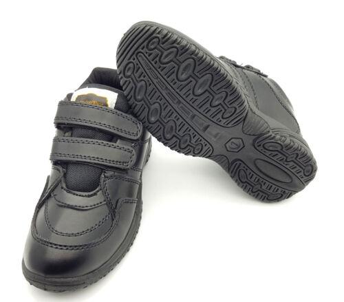 Boys Black school shoes UK size1 Shoes uniform Formal Casual Touch Strap
