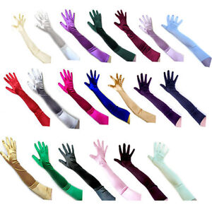Fashion Satin Long Gloves Opera Wedding Bridal Evening Party Costume Gloves