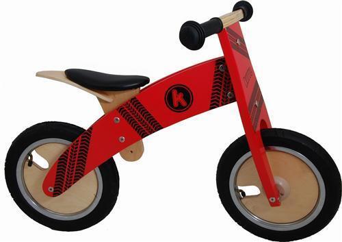 Kiddimoto Laufrad Kurve ROT Tyre - Lernlaufrad - Roller - Holzlaufrad