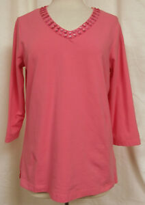 QUACKER-FACTORY-Beaded-V-Neck-Pullover-Cotton-Stretch-Top-3-4-Sleeve-Pink-Sz-M