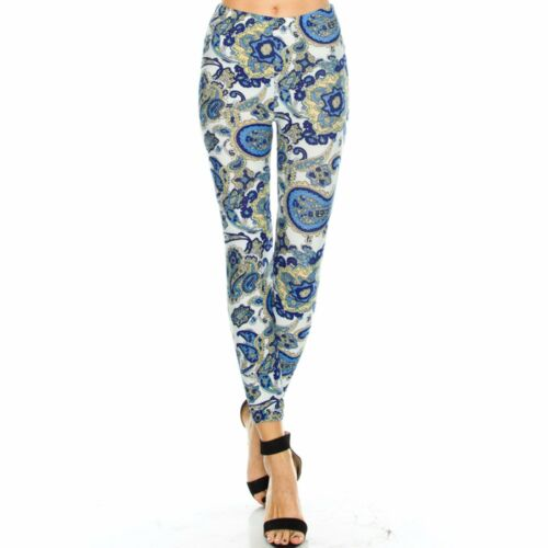 Women/'s Paisley Printed Leggings Buttery Soft Peach Skin One Size 0-12