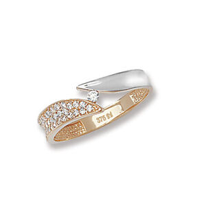 Solitaire-Ring-Yellow-amp-White-Gold-Ladies-Band-Ring-Hallmarked-Crossover-Wrap