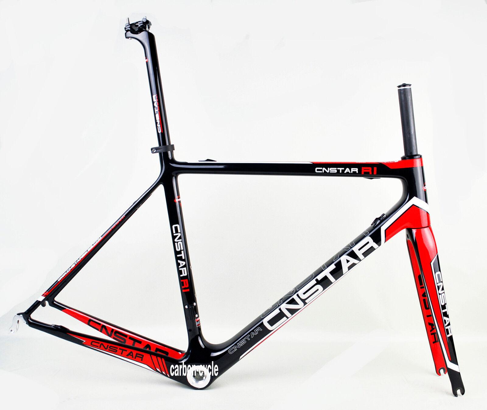 54cm BSA Carbon Road Frame Fork Road Bike Headset Internl Di2 rosso Glossy 700C