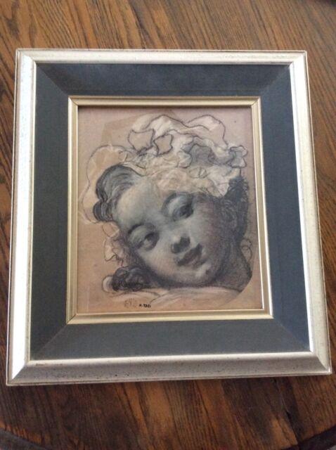 Vintage Turner Wall Charoal Cherub Little Girl Drawing Print #3644 ...