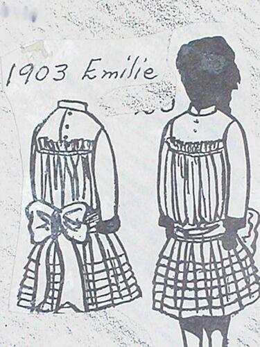 """VINTAGE ORIG FRANKI/'S ANTIQUE BEBE DOLL DRESS PATTERN EMILIE 11/""""-27/"""""""