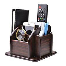 Wood Office Supplies Desk Organizer Rack Rotating Remote Control Holder