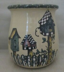 Home-amp-Garden-Party-Stoneware-Birdhouse-pattern-Utensil-Crock-2004