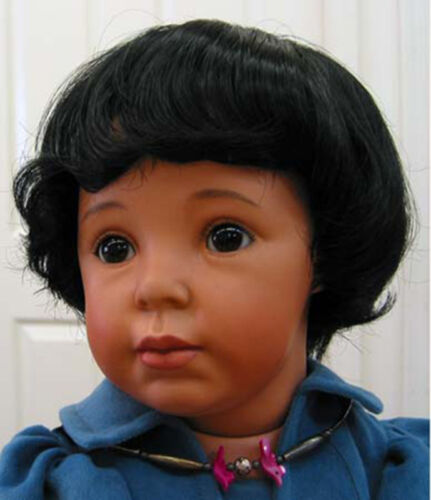 ROBBIE DOLL WIG Black size 9-10 NEW short wavy hair for all girl or boy DOLLS