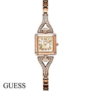Guess-W0137L3-Flawless-rose-gold-Edelstahl-Armband-Uhr-Damen-NEU