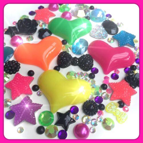 Gemas Y Perlas Flatbacks Para Decoden Crafts Neon corazones tema Cabujón Cristales