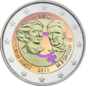 2-Euro-Gedenkmuenze-Belgien-2011-coloriert-mit-Farbe-Farbmuenze-Weltfrauentag
