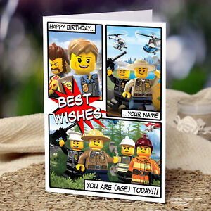 Image Is Loading EXTRA LARGE Lego City Personalised A4 Birthday Card