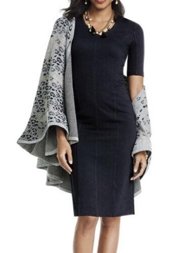 CABI Clair Dress 10 Solid Black Ponte Knit Sheath