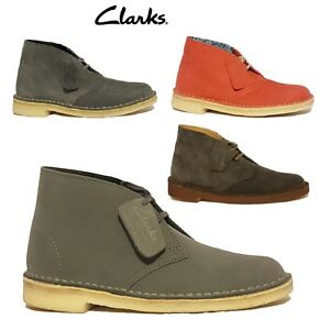 NEW CLARKS ORIGINALS DESERT BOOTS GREY BLUE PINK SUEDE LEATHER LADIES ANKLE BOOT
