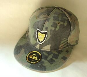 QUIKSILVER-Gray-Camo-Cotton-Hat-Cap-Mens-Fitted-Size-7-5-8-NEW-NWT