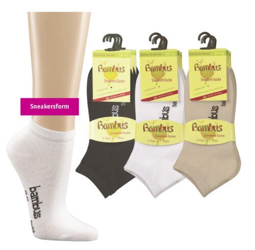 schwarz Bambus-Sneaker-Socken für Damen und Herren im 3er Pack