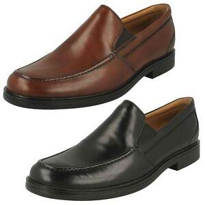 ac56f08e0791 Mens Clarks Un Aldric Slip Black Or Dark Tan Leather Slip On Shoes G ...