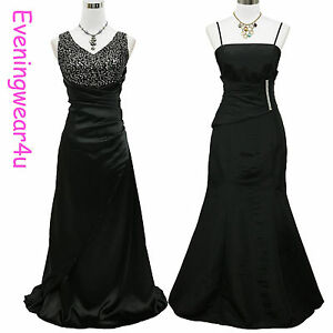 Cherlone-Satin-Black-Ball-Bridesmaid-Prom-Long-Formal-Wedding-Evening-Gown-Dress