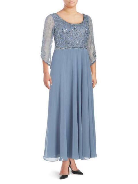 JKARA® Plus Size 18W Dusky Blue Sheared Sequin Gown or Dress NWT $289