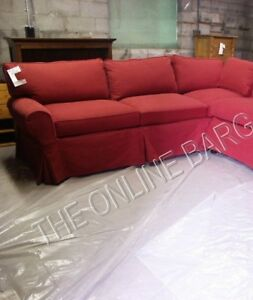 Details about Pottery Barn Basic Sofa Sectional slipcover LEFT ARM SOFA  CRANBERRY TWILL RED