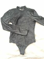 Urban Outfitters Out From Under Velvet Open Back Bodysuit Sz M Dark Green