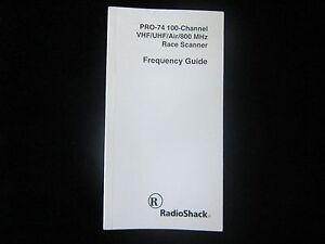VINTAGE Radio Shack PRO-74 Scanner FREQUENCY GUIDE Original