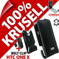 New Krusell Orbit Flex GENUINE LEATHER Flip Case Cover + Belt Clip for HTC One X