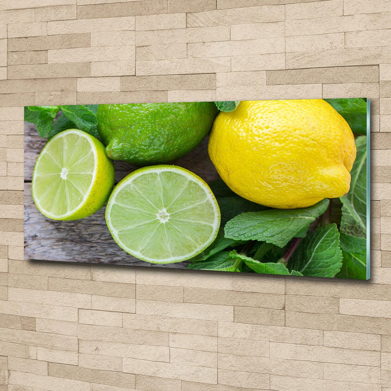 Wandbild aus Plexiglas® Druck auf Acryl 125x50 Essen & Getränke Limette Zitrone