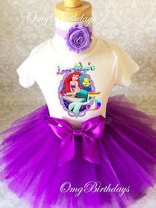 Ariel-Little-Mermaid-Purple-Girl-5th-Fifth-Birthday-Tutu-Outfit-Shirt-Set